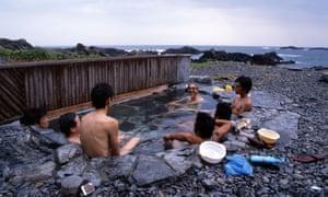 Men bath and relax at Yudomari-onsen Hot Spring, Yakushima, Japan