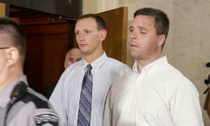 Former Milwaukee police officers Graham Kunisch right, and Bryan Norberg left, who were shot and seriously wounded by a gun illegally purchased at Badger Guns.
