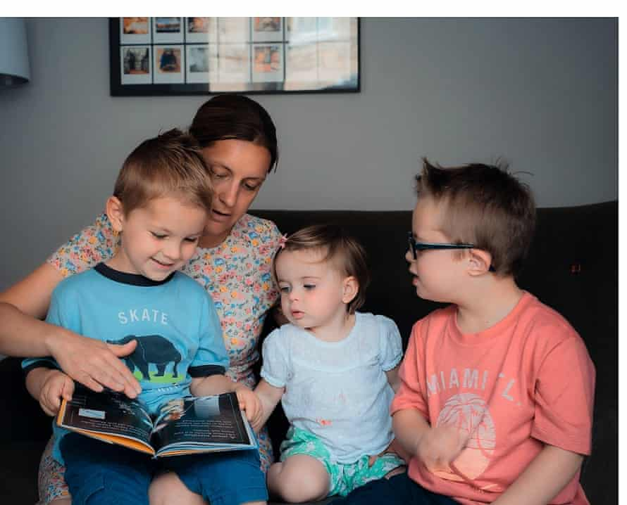 Caroline White with her children, Dominic, Polly and Seb