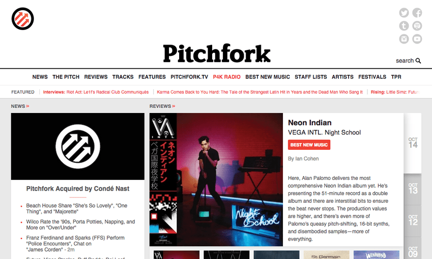 The Pitchfork music website has been bought by Vogue publisher Condé Nast