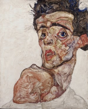 Self Portrait with Raised Bared Shoulder, 1912, by Egon Schiele