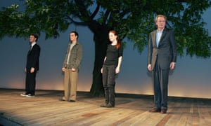 L-R: Dan Bittner, Andrew Scott, Julianne Moore and Bill Nighy taking a curtain call in David Hare's The Vertical Hour at the Music Box Theater in New York, 2006.