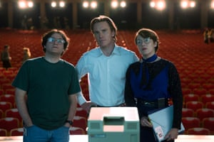 Michael Stuhlbarg as computer scientist Andy Hertzfeld, with Michael Fassbender and Kate Winslet in the biopic Steve Jobs.