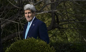 US secretary of state John Kerry looks on during a walk in the garden of the Beau-Rivage Palace hotel during a break in Iran nuclear talks in Lausanne.