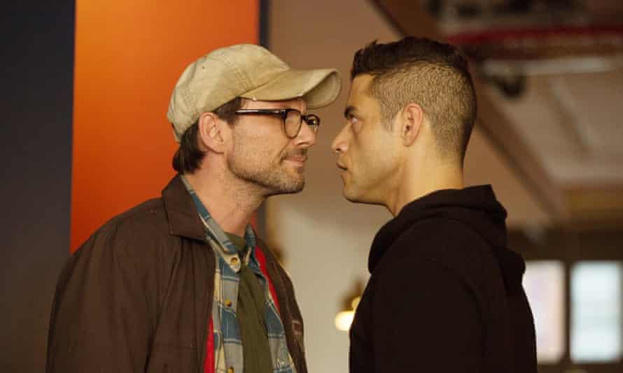 Christian Slater as Mr. Robot and Rami Malek.