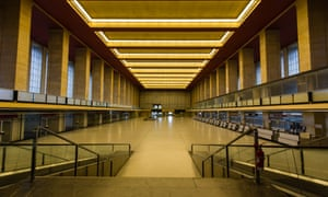 The deserted check-in hall of Tempelhof airport