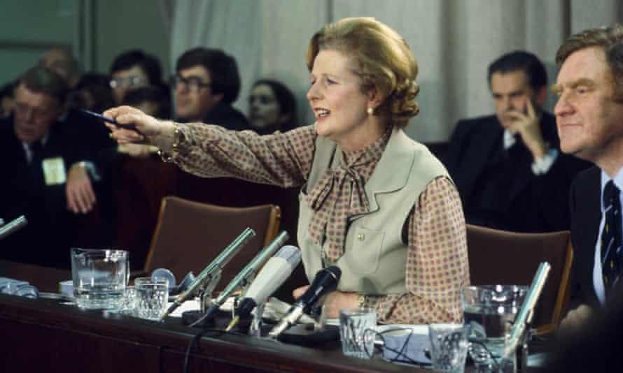 Mrs Thatcher with her press secretary Bernard Ingham circa 1987.