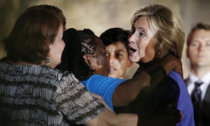 Democratic presidential candidate Hillary Rodham is greeted during a rally in Las Vegas.