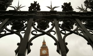 Big Ben behind the existing railings surrounding The Palace of Westminster, Houses of Parliament, London