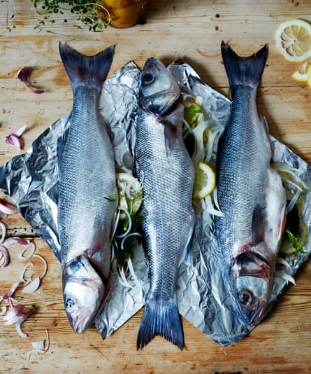 Whole baked sea bass with fennel and preserved lemon
