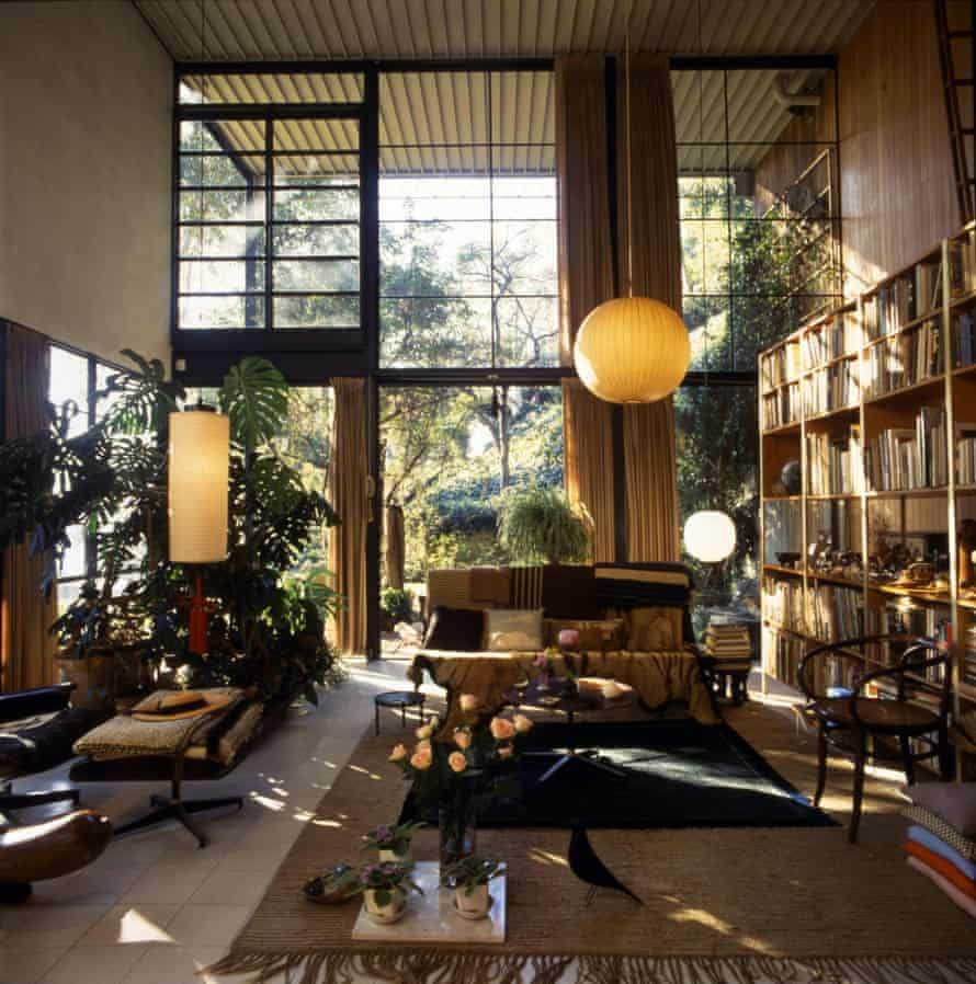 The living room of the house the Eameses built in Los Angeles in 1949.