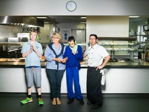 Jude Ragan, second left, and chef Lucio with pupils from Queensmill school.