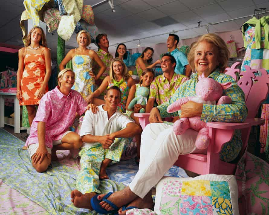Fashion designer Lilly Pulitzer with grandchildren and employees