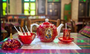 Traditional tea set at Cafe Irani Chaii