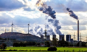 Coal power station with wind power turbines in Germany