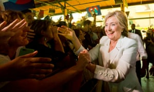 Hillary Clinton greets supporters during a campaign stop in Texas.