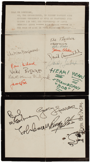 A copy of the petition to have Mick Jagger star in A Clockwork Orange