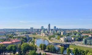 The Neris river snakes through Vilnius
