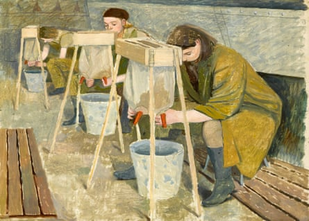 Milking Practice with Artificial Udders, 1940, by Evelyn Dunbar.
