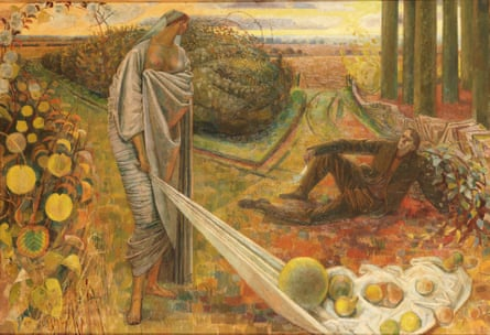 Autumn and the Poet, 1948-60, by Evelyn Dunbar. The painting shown on the BBC's Antiques Roadshow, and now donated to Maidstone Museum.