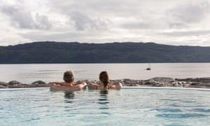 Outdoor infinity pool at Portavadie, Loch Fyne, Argyll, Scotland
