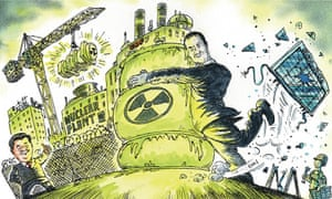 Cartoon showing George Osborne's attachment to nuclear power