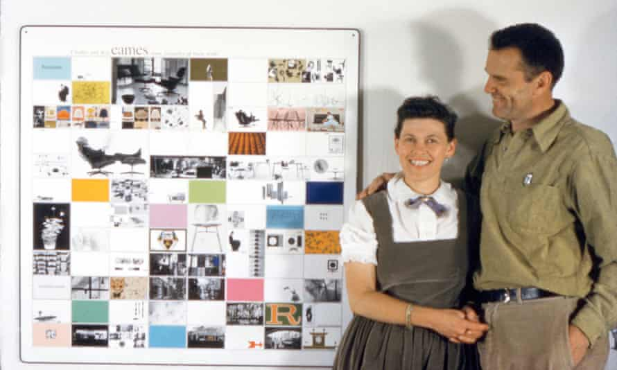 The couple with a panel of work made for the American Institute of Architects, 1957.