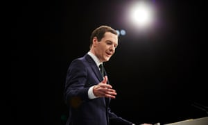Chancellor of the exchequer George Osborne making his speech at the Conservative party annual confer