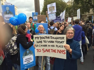 A family protests at the junior doctors' march