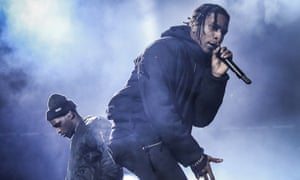 Heading for rap-metal Armageddon … A$AP Rocky on stage at the O2 Arena.