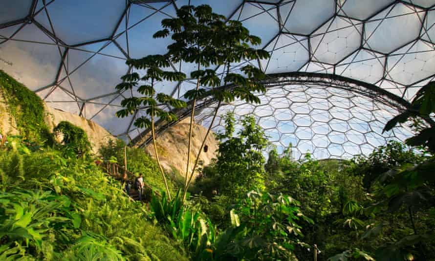 The humid tropics biome at the Eden Project at Bodelva, UK.