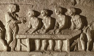 The frieze on the tomb of Marcus Vergilius Eurysaces depicts bakers making loaves of bread.