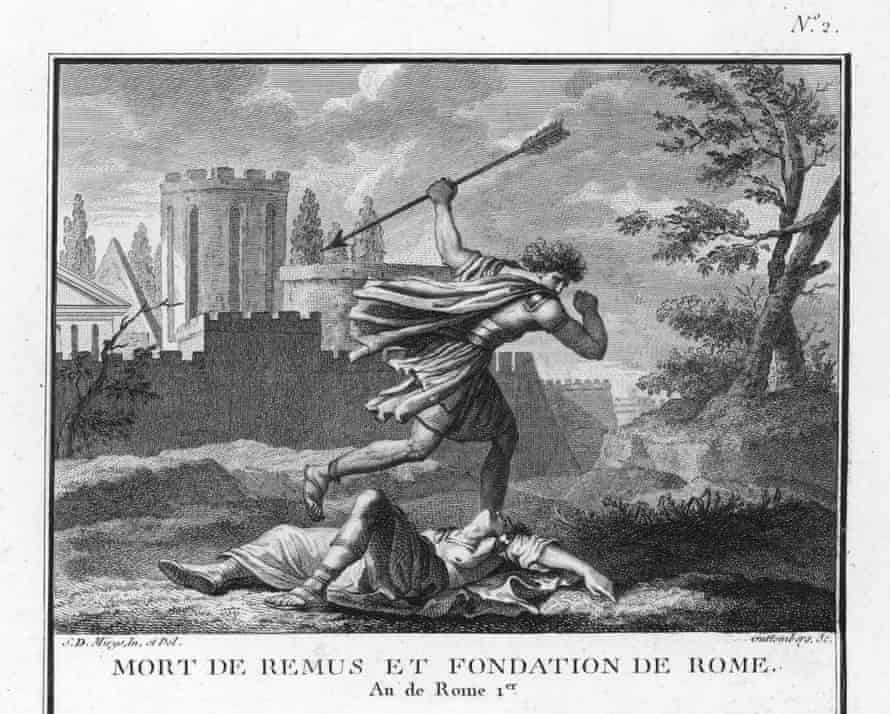 Romulus slays his twin brother Remus during the mythical founding of Rome.