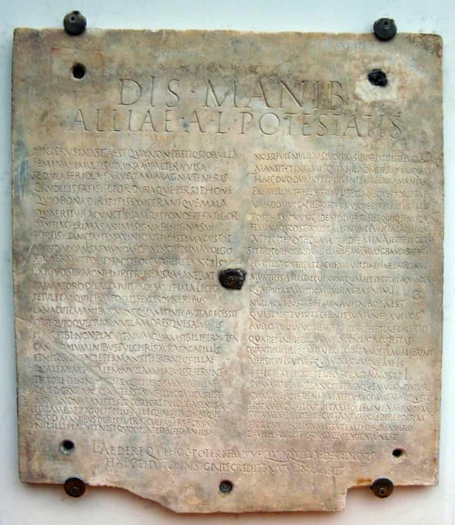 The tombstone text revealing the life of Allia Potestas.