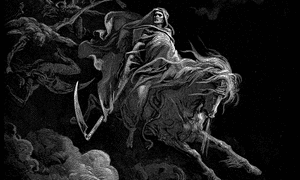 Death on a pale horse is one of the traditional four horsemen of the apocalypse from Revelations.