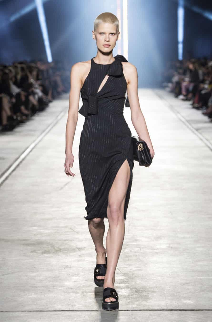 Kris Gottschalk on the Versace catwalk.
