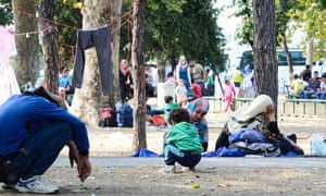 Refugees in Belgrade city park