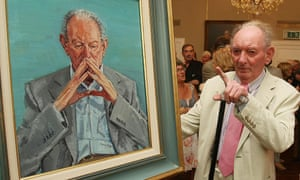 Brian Friel in 2010 looking at his portrait in 2010 by Mick O'Dea in the National Gallery of Ireland.
