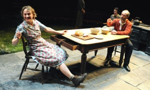 Niamh Cusack (Maggie) and Finbar Lynch (Jack) in Brian Friel's Dancing At Lughnasa at the Old Vic, London (2009).