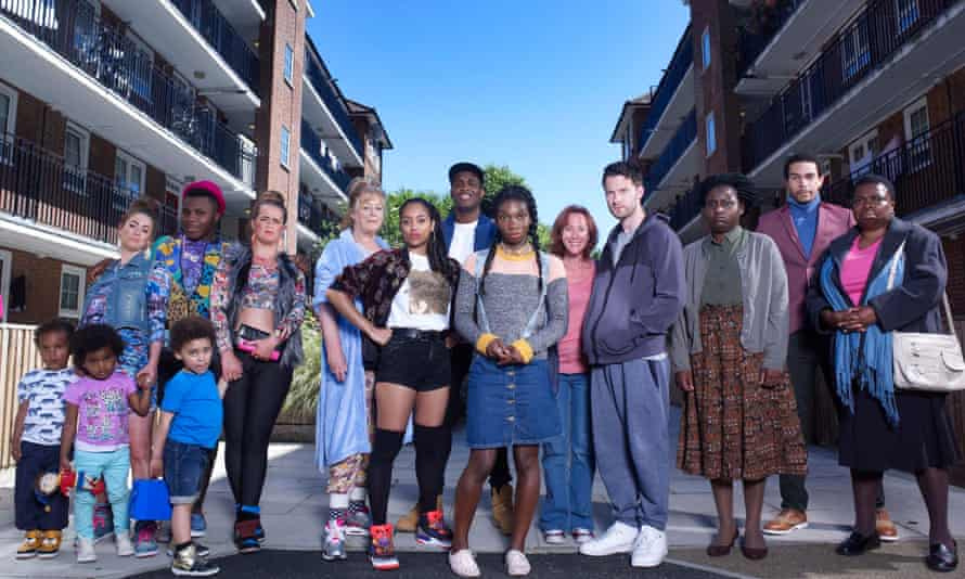 Michaela Coel, centre in denim skirt, and the rest of the cast of Chewing Gum.