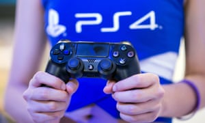 PS4 controller at the Sony booth during the China Joy fair in Shanghai, 2014