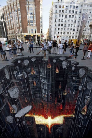 The Dark Knight Rises - made for the film release in July 2012, Madrid. This picture measures 8 meters by 6 meters. Also displayed in Moscow for Warner Bros. Russia. 3d gallery The 3D street art of Joe and Max, Britain - 08 Mar 2013