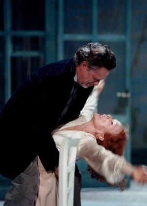 Jutta Lampe as Arkadina and Gert Voss as Trigorin in Luc Bondy's The Seagull at the Burgtheater, Vienna.