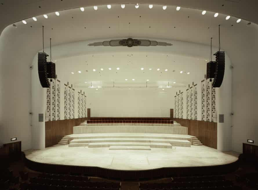 The 'altered and enhanced' Liverpool Philharmonic Hall's concert hall, 'with notes of ocean liner'.