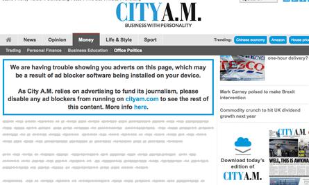 City AM adblocking