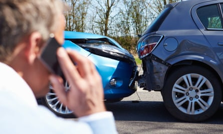 Driver on phone after car accident