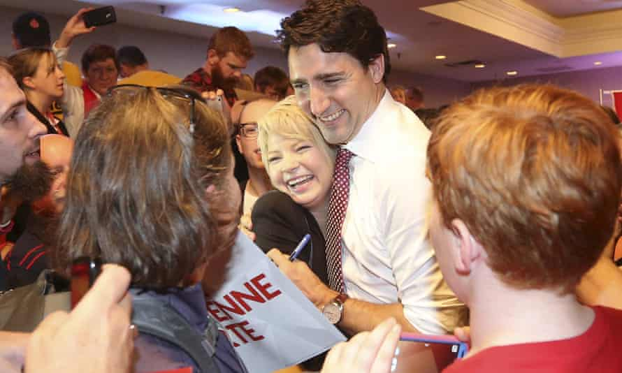Justin Trudeau greets supporters during a campaign rally in Saint John, New Brunswick.