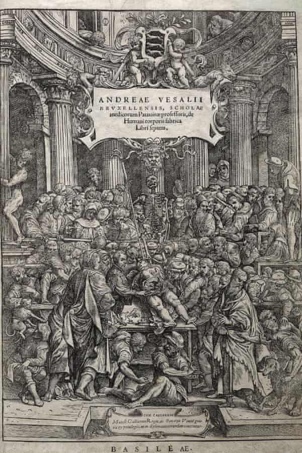 The wood cut title page from De humani corporis fabrica, a set of 16th century texts on human anatomy.
