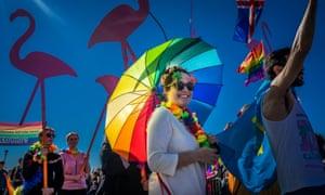 Gay Pride Parade in Reykjavik, Iceland.