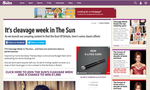 The Sun's 'cleavage week' contest as it appeared on the paper's website